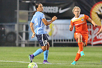 Piscataway, NJ - Saturday July 09, 2016: Ellie Brush, Samantha Kerr during a regular season National Women's Soccer League (NWSL) match between Sky Blue FC and the Houston Dash at Yurcak Field.