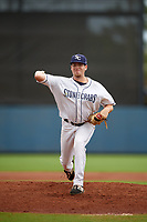 Charlotte Stone Crabs pitcher Alex Valverde (32) during a Florida State League game against the Bradenton Maruaders on August 7, 2019 at Charlotte Sports Park in Port Charlotte, Florida.  Charlotte defeated Bradenton 3-2 in the second game of a doubleheader.  (Mike Janes/Four Seam Images)