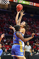College Park, MD - March 25, 2019: Maryland Terrapins forward Stephanie Jones (24) shoots over UCLA Bruins forward Lauryn Miller (33) during game between UCLA and Maryland at  Xfinity Center in College Park, MD.  (Photo by Elliott Brown/Media Images International)