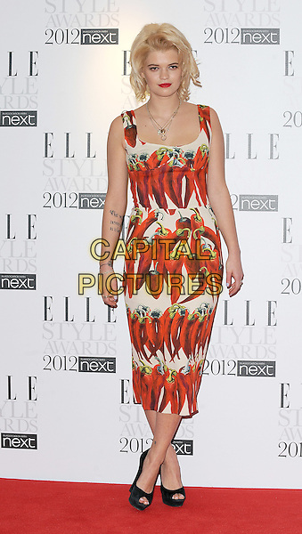 Pixie Geldof.'Elle Style Awards 2012' at The savoy Hotel, London, England..13th February 2012.full length black dress white red sleeveless chili chilli peppers food print peep toe shoes.CAP/BEL.©Tom Belcher/Capital Pictures.