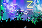 """June 24, 2013, Tokyo, Japan - Robot band Z-Machines perform on stage during a special live performance at Liquidroom in downtown Tokyo. The guitarist """"Mach"""" can slide, shred and mute as he is also equipped with a body and soul system that allows him to head-bang. The drummer """"Ashura"""" consists of 4 snare drums, 2 crash cymbals and 3 bass drums while the keyboardist """"Cosmo"""" is equipped with a unique eye beam function. (Photo by Christopher Jue/Nippon News)"""