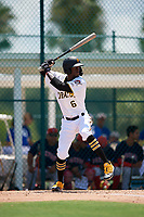 GCL Pirates Deion Walker (6) bats during a Gulf Coast League game against the GCL Red Sox on August 1, 2019 at Pirate City in Bradenton, Florida.  GCL Red Sox defeated the GCL Pirates 11-3.  (Mike Janes/Four Seam Images)