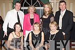 Valarie Doyle, Anna Marie Looney, Alice O'Connor. Back row: Gerard looney, Peig Lenihan, Anna Burke and Niall O'Connor having fun  at the Knocknagree GAA social in the River Island Hotel Castleisland on Saturday night ............