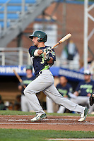 Vermont Lake Monsters second baseman Joe Bennie (3) at bat during a game against the Jamestown Jammers on July 12, 2014 at Russell Diethrick Park in Jamestown, New York.  Jamestown defeated Vermont 3-2.  (Mike Janes/Four Seam Images)