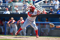 Williamsport Crosscutters second baseman Josh Tobias (33) at bat during a game against the Batavia Muckdogs on July 16, 2015 at Dwyer Stadium in Batavia, New York.  Batavia defeated Williamsport 4-2.  (Mike Janes/Four Seam Images)