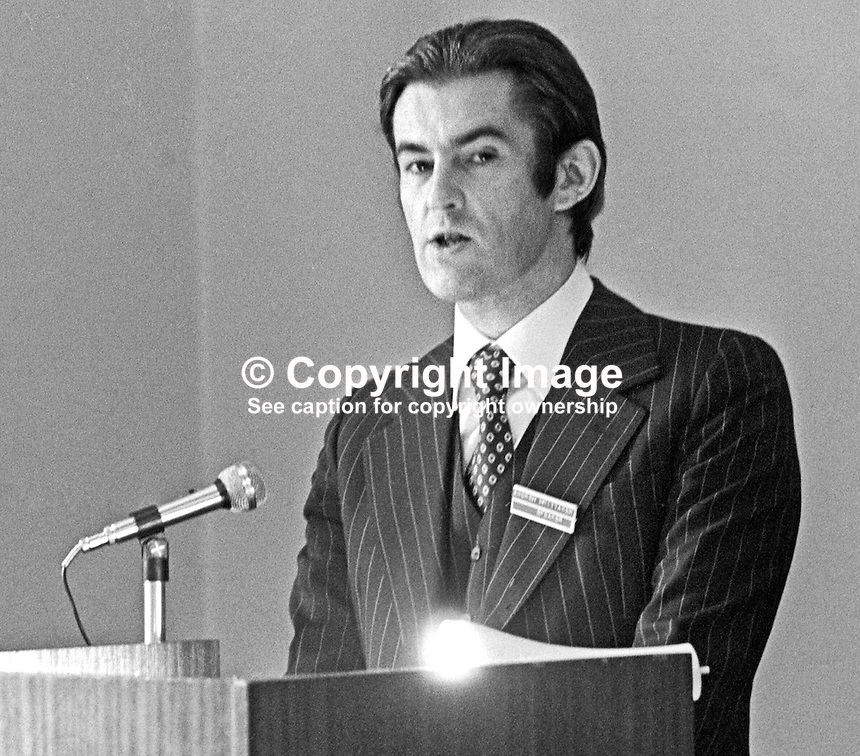 Andrew Whittaker, Irish Times, Dublin, Rep of Ireland, addresses N Ireland accountants' conference in the Slieve Donard Hotel, Newscastle, N Ireland, 4th October 1975. 197510040681a<br /> <br /> Copyright Image from Victor Patterson, 54 Dorchester Park, Belfast, UK, BT9 6RJ<br /> <br /> Tel: +44 28 9066 1296<br /> Mob: +44 7802 353836<br /> Voicemail +44 20 8816 7153<br /> Email: victorpatterson@me.com<br /> Email: victorpatterson@gmail.com<br /> <br /> IMPORTANT: My Terms and Conditions of Business are at www.victorpatterson.com