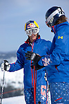 2/14/10 11:15:41 AM --.Fellow US Skiercross athlete and former olympian Daron Rahlves, left, talks over strategy with Casey Puckett. . -- Casey Puckett is about to participate in his fifth winter Olympics. He's also an outgoing guy -- you can tell from his blog -- who has had five knee surgeries and a separated shoulder from a spectacular crash last year. Casey will be training in Lake Tahoe before he competes in Vancouver. -- (USATODAY - Scott Sady)...Photo by Scott Sady, Freelance.