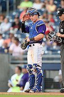 Tulsa Drillers catcher Ryan Casteel (32) during the second game of a doubleheader against the Frisco Rough Riders on May 29, 2014 at ONEOK Field in Tulsa, Oklahoma.  Frisco defeated Tulsa 3-2.  (Mike Janes/Four Seam Images)