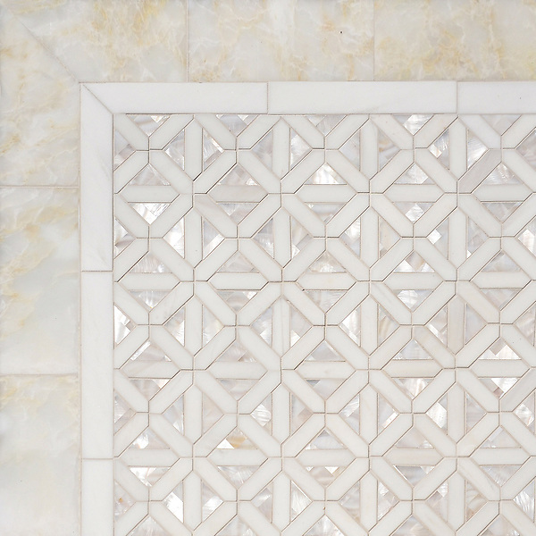 Joie, a waterjet mosaic shown in polished Cloud Nine, Dolomite and Shell, is part of the Aurora™ Collection by Sara Baldwin for New Ravenna.