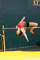 Central Missouri red-shirt sophomore Erin Alewine clears the bar in the high jump at the 2012 MIAA Indoor Track & Field Championships at Missouri Southern in Joplin, February 26. Alewine went on to clear 5-8 to finish second to teammate Lindsay Lettow who also cleared 5-8.