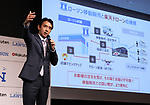 October 6, 2017, Tokyo, Japan - Japan's convenience store chain Lawson president Sadanobu Takemasu announces online commerce giant Rakuten and Lawson will start a trial service to deliver Lawson's goods with Rakuten's drone in Minamisoma city end of this month in Tokyo on Friday, October 6 2017. Minamisoma's Odaka district was designated as a district under evacuation orders  due to the nuclear accident of TEPCO's Fukushima Dai-ichi nuclear plant caused by tsunami and Lawson opened the first convenience store in the area last year.    (Photo by Yoshio Tsunoda/AFLO) LWX -ytd-