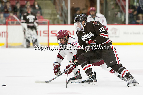Tyler Moy (Harvard - 2), Davey Middleton (Brown - 21) - The Harvard University Crimson defeated the visiting Brown University Brown Bears 5-2 (EN) on Saturday, November 7, 2015, at Bright-Landry Center in Boston, Massachusetts.