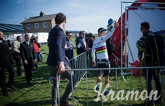 thumbs up for race winner/world champion Michal Kwiatkowski (POL/Ettix-Quickstep)<br /> <br /> 50th Amstel Gold Race 2015