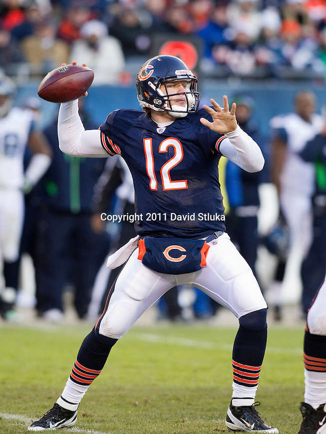 Chicago Bears quarterback Caleb Hanie (12) throws a pass during a week 15 NFL football game against the Seattle Seahawks on December 18, 2011 in Chicago. The Seahawks won 38-14. (AP Photo/David Stluka)