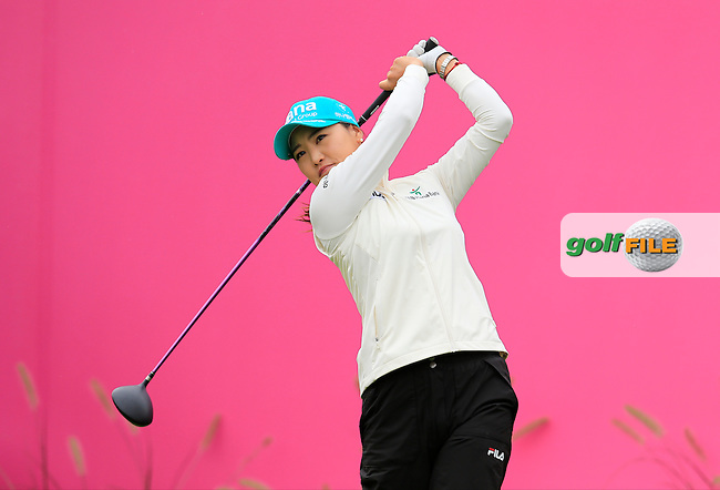 So Yeon Ryu (KOR) tees off the 1st tee to start her match during Saturday's Round 3 of The 2016 Evian Championship held at Evian Resort Golf Club, Evian-les-Bains, France. 17th September 2016.<br /> Picture: Eoin Clarke | Golffile<br /> <br /> <br /> All photos usage must carry mandatory copyright credit (&copy; Golffile | Eoin Clarke)