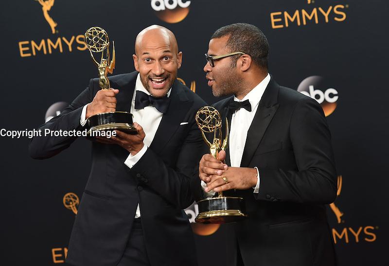 Keegan Michael Key + Jordan Peele @ the 2016 Emmy Awards held @ the Microsoft theatre. September 18, 2016