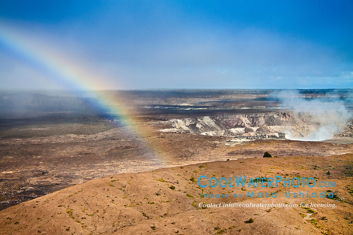 rainbow over actively erupting Halemaumau Crater, releasing vog - volcanic gas, Kilauea Caldera, Hawaii Volcanoes National Park, Kilauea, Big Island, Hawaii, USA
