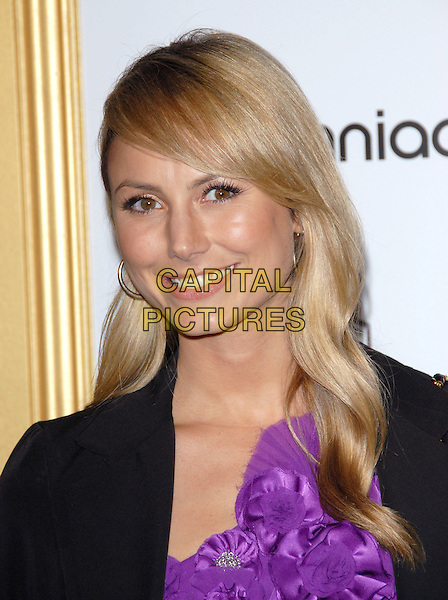 STACY KEIBLER .at The First Annual Data Awards held at The Hollywood Palladium in Hollywood, California, USA, January 29th 2010.                                                                   .arrivals portrait headshot black purple jacket blazer top rosettes corsages smiling gold hoop earrings .CAP/RKE/DVS.©DVS/RockinExposures/Capital Pictures.
