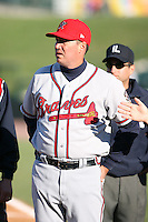 April 15th 2008:  Manager Dave Brundage (45) of the Richmond Braves, Class-AAA affiliate of the Atlanta Braves, during a game at Frontier Field in Rochester, NY.  Photo by:  Mike Janes/Four Seam Images