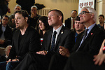 British comedian Eddie Izzard (left) and politicians Willie Rennie and Alastair Darling listening to speeches at an anti-Scottish independence Better Together campaign rally at Community Central Hall, Glasgow. The event was staged by Better Together who were campaigning to prevent an independent Scotland from leaving the United Kingdom. On the 18th of September 2014, the people of Scotland voted in a referendum to decide whether the country's union with England should continue or Scotland should become an independent nation once again.