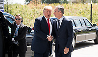11 July 2018, Brussels, Belgium: Donald Trump, President of the United States arrives at the NATO summit and gets greeted by Jens Stoltenberg NATO Secretary General. From July 11, 2018 until July 12, 2018 Government Heads of the 29 NATO member states and European Union representatives, will participate in the Summit of the North Atlantic Treaty Organization. Photo: Bernd von Jutrczenka/dpa /MediaPunch ***FOR USA ONLY***