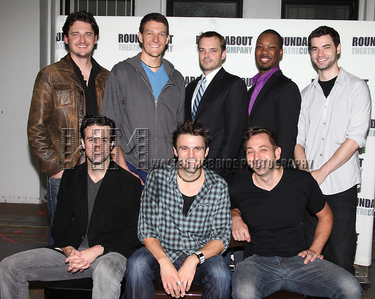 (Top row, L-R:) Toby Leonard Moore, Gabriel Ebert, James McMenamin, Corey Hawkins, Jake O'Connor, (Botton row, L-R:) Mike DiSalvo, playwright Andrew Hinderaker and director Jonathan Berry.attending the Meet & Greet for the Roundabout Underground's Production of 'Suicide, Incorporated' in New York City.