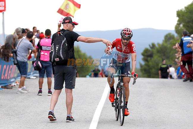 Breakaway man Thomas De Gendt (BEL) Lotto-Soudal during Stage 7 of the 2017 La Vuelta, running 207km from Ll&iacute;ria-Cuenca, Spain. 25th August 2017.<br /> Picture: Unipublic/&copy;photogomezsport | Cyclefile<br /> <br /> <br /> All photos usage must carry mandatory copyright credit (&copy; Cyclefile | Unipublic/&copy;photogomezsport)