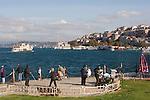 Istanbul, Turkey, Uskudar, fishermen, Park promenade,  Üsküdar, Asian, Anatolian shore, passenger ferries, Bosporos Strait,