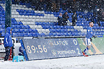 The scoreboard shows 4 seconds left before the 11 added minutes. Oldham v Portsmouth League 1