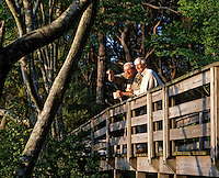 Senior couple enjoying the view from a walking bridge, Outer Banks, North Carolina