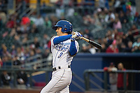 Whit Merrifield (3) of the Omaha Storm Chasers at bat against the Memphis Redbirds in Pacific Coast League action at Werner Park on April 24, 2015 in Papillion, Nebraska.  (Stephen Smith/Four Seam Images)