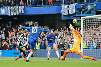 Eden Hazard of Chelsea scores his goal 1 1 during the Premier League match between Chelsea and Newcastle United at Stamford Bridge, London, England on 2 December 2017. Photo by David Horn.