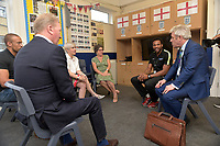 John Bercow MP and Frank Warren speak with teachers during a Press Call at The Boxing Academy on 21st June 2018