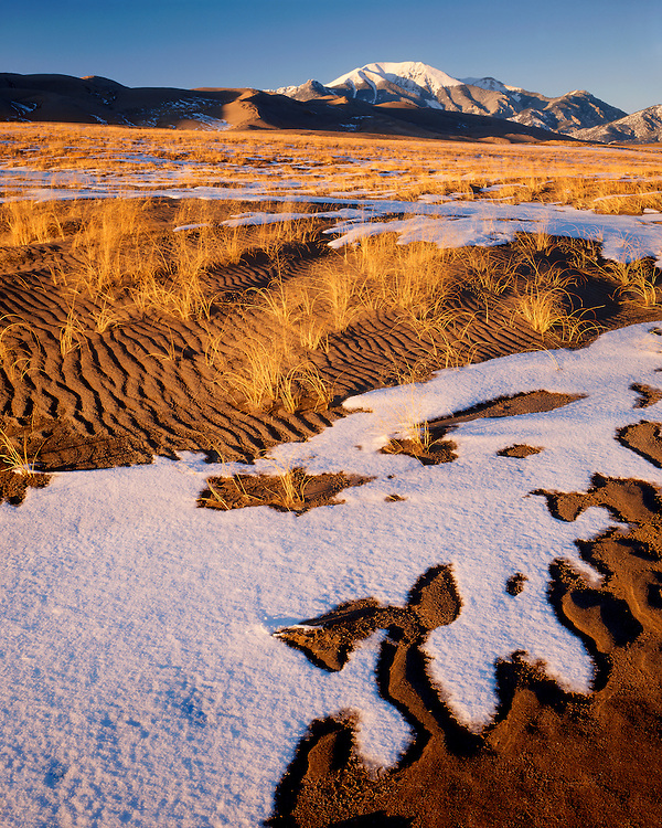 Melting snow patterns on the Great Sand Dunes; Great Sand Dunes National Park and Preserve, CO