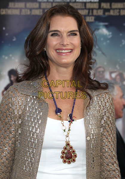 Brooke Shields.'Rock of Ages' Los Angeles premiere held at Grauman's Chinese Theatre, Hollywood, California USA.June 8th, 2012.half length white top beige knitted cardigan crochet necklace brown.CAP/ADM/RE.©Russ Elliot/AdMedia/Capital Pictures.