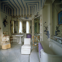 The fabulous trompe l'oeil pavilion in the Duchess of Windsor's bathroom was conceived and painted by Russian emigre artist Dimitri Bouchene