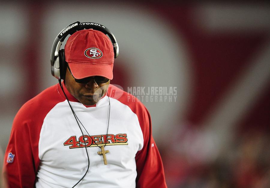 Nov. 29, 2010; Glendale, AZ, USA; San Francisco 49ers head coach Mike Singletary against the Arizona Cardinals at University of Phoenix Stadium. Mandatory Credit: Mark J. Rebilas-