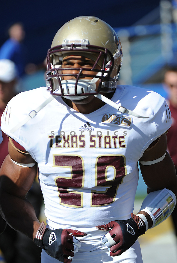 Texas State Bobcats Denzel Wells (29) in action during a game against San Jose State on October 27, 2012 at Spartan Stadium in San Jose, CA. San Jose State beat Texas State 31-20.