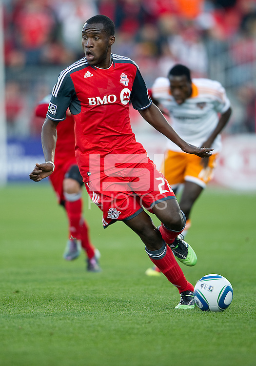 07 May 2011: Toronto FC midfielder Tony Tchani #22 in action during an MLS game between the Houston Dynamo and the Toronto FC at BMO Field in Toronto, Ontario..Toronto FC won 2-1.