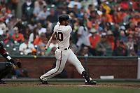 SAN FRANCISCO, CA - APRIL 11:  Evan Longoria #10 of the San Francisco Giants bats against the Arizona Diamondbacks during the game at AT&T Park on Wednesday, April 11, 2018 in San Francisco, California. (Photo by Brad Mangin)