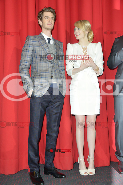 Andrew Garfield and Emma Stone (wearing an Andrew Gn dress, Louboutin shoes) attending the Germany premiere of the movie The Amazing Spider-Man at CineStar Sony Center in Berlin. Berlin, 20.06.2012...Credit: Timm/face to face /MediaPunch Inc. ***Online Only for USA Weekly Print Magazines*** NORTEPOTO.COM<br />