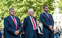 Picture by Allan McKenzie/SWpix.com - 25/08/2017 - Rugby League - Commemorative wreath laying ceremony - The Cenotaph, London, England - Wigan coach Shaun Wane, Chairman Ian Lenagan & captain Sean O'Loughlin at the Cenotaph.