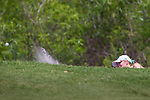 HOWEY IN THE HILLS, FL - MAY 11: Paige Church from the Methodist University Monarchs women's golf team hits a shot out of the bunker during Division III Women's Golf Championship. The Claremont Mudd Scripps won the team and individual (Margaret Loncki) First Place Championships during the Division III Women's Golf Championship held at the Mission Inn Resort & Club on May 11, 2018 in Howey-In-The-Hills, Florida. (Photo by Matt Marriott/NCAA Photos via Getty Images)