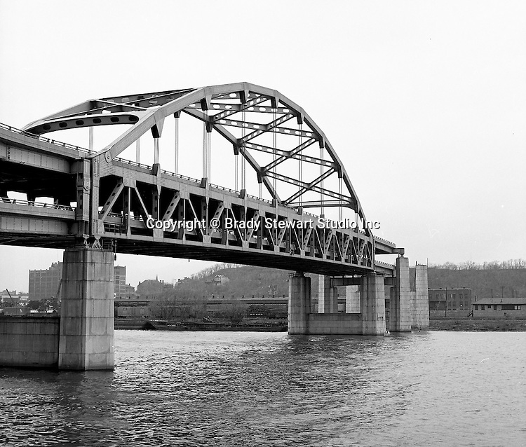 Pittsburgh PA:  View of the Fort Duquesne Bridge under construction - 1966... the bridge to nowhere!
