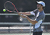 Yuval Solomon of Plainview JFK returns a volley from Peter Siozios of New Hyde Park (not in picture) in the Nassau County varsity boys tennis singles final at Oceanside High School on Sunday, May 21, 2017. Solomon, the reigning New York State champion, won the match 6-0, 6-0 to claim the county singles title.
