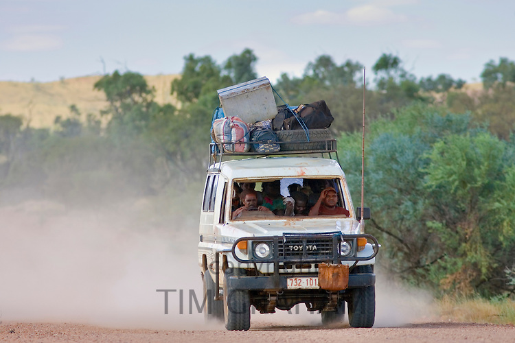 Four-wheel-drive vehicle on the Mereenie Loop Road, West Macdonnell National Park, Red Centre, Australia