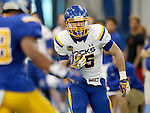 BROOKINGS, SD - APRIL 23:  Clark Wieneke #25 from South Dakota State looks to make a move against the defense during their Spring Game Saturday afternoon at the Sanford Jackrabbit Athletic Complex in Brookings.  (Photo by Dave Eggen/Inertia)