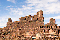 Salinas Pueblo Missions National Monument, New Mexico.  Abo Ruins in the  early 17th century this was a Spanish Colonial Mission along with the pueblo.  Ruins of San Gregorio de Abo Spanish Mission Church and convento