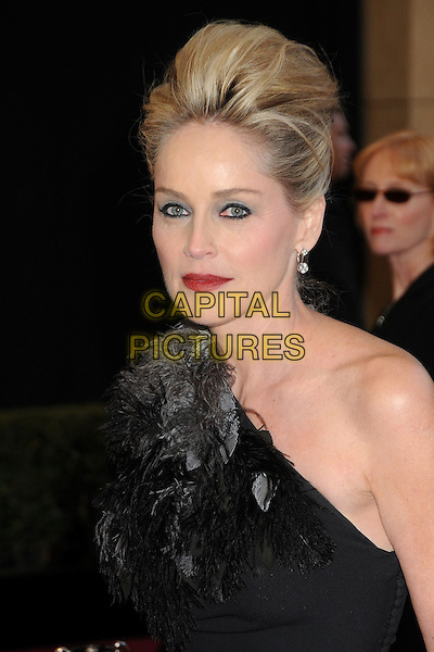 SHARON STONE .83rd Annual Academy Awards - Arrivals held at the Kodak Theatre,  Hollywood, California, USA, 27th February 2011..oscars portrait headshot hair up make-up black one shoulder beauty red lipstick eyeliner beehive feathers feather grey gray .CAP/ADM/BP.©Byron Purvis/AdMedia/Capital Pictures.