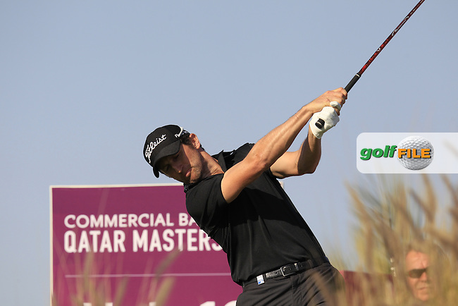 Gregory BOURDY (FRA) tees off the 16th tee during Saturday's Final Round of the 2015 Commercial Bank Qatar Masters held at Doha Golf Club, Doha, Qatar.: Picture Eoin Clarke, www.golffile.ie: 1/24/2015